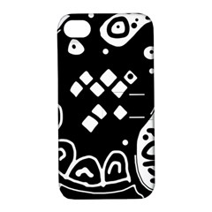 Black And White High Art Abstraction Apple Iphone 4/4s Hardshell Case With Stand by Valentinaart