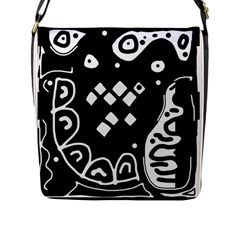 Black And White High Art Abstraction Flap Messenger Bag (l)  by Valentinaart