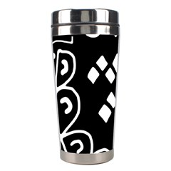 Black And White High Art Abstraction Stainless Steel Travel Tumblers by Valentinaart