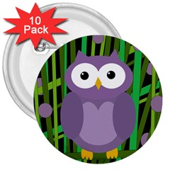 Purple Owl 3  Buttons (10 Pack)  by Valentinaart