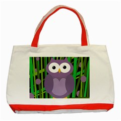 Purple Owl Classic Tote Bag (red) by Valentinaart