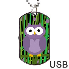 Purple Owl Dog Tag Usb Flash (one Side) by Valentinaart