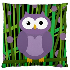Purple Owl Large Cushion Case (two Sides) by Valentinaart