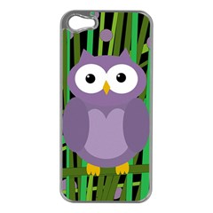 Purple Owl Apple Iphone 5 Case (silver) by Valentinaart