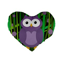 Purple Owl Standard 16  Premium Flano Heart Shape Cushions by Valentinaart