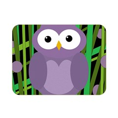 Purple Owl Double Sided Flano Blanket (mini)  by Valentinaart