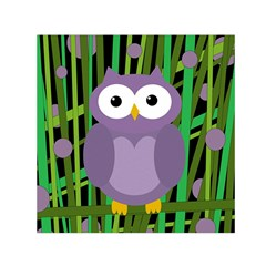 Purple Owl Small Satin Scarf (square) by Valentinaart