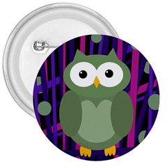Green And Purple Owl 3  Buttons by Valentinaart