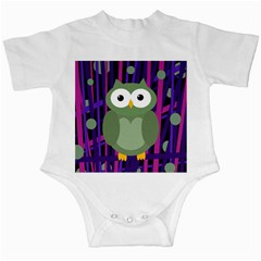 Green and purple owl Infant Creepers by Valentinaart