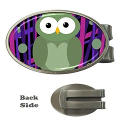 Green And Purple Owl Money Clips (oval)  by Valentinaart
