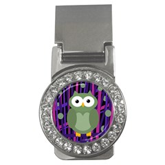 Green And Purple Owl Money Clips (cz)  by Valentinaart