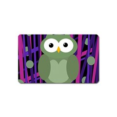 Green And Purple Owl Magnet (name Card) by Valentinaart