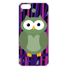 Green And Purple Owl Apple Iphone 5 Seamless Case (white) by Valentinaart