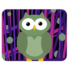 Green And Purple Owl Double Sided Flano Blanket (medium)  by Valentinaart