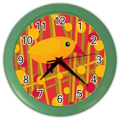 Yellow Bird Color Wall Clocks by Valentinaart