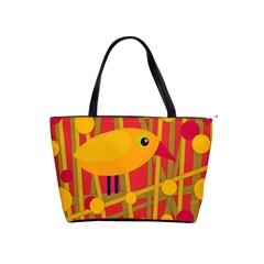 Yellow Bird Shoulder Handbags by Valentinaart