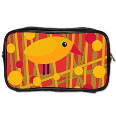 Yellow Bird Toiletries Bags 2 Side by Valentinaart