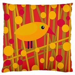 Yellow Bird Standard Flano Cushion Case (one Side) by Valentinaart