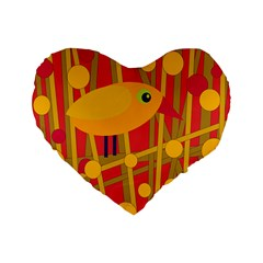 Yellow Bird Standard 16  Premium Flano Heart Shape Cushions by Valentinaart