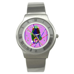 Pink Artistic Abstraction Stainless Steel Watch by Valentinaart