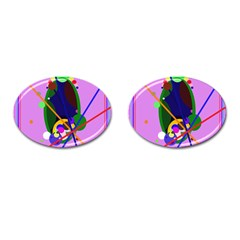 Pink Artistic Abstraction Cufflinks (oval) by Valentinaart
