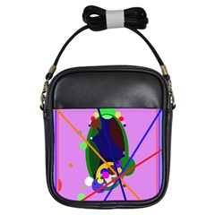 Pink Artistic Abstraction Girls Sling Bags by Valentinaart