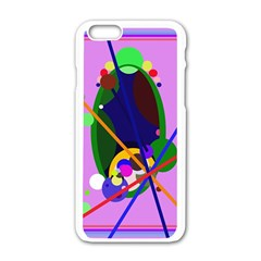 Pink Artistic Abstraction Apple Iphone 6/6s White Enamel Case by Valentinaart