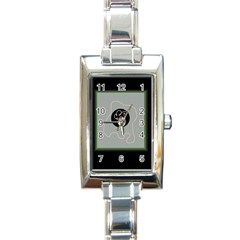 Gray Abstract Art Rectangle Italian Charm Watch by Valentinaart