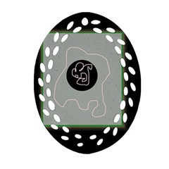 Gray Abstract Art Oval Filigree Ornament (2 Side)  by Valentinaart