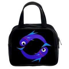 Blue Fishes Classic Handbags (2 Sides) by Valentinaart