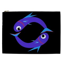 Blue Fishes Cosmetic Bag (xxl)  by Valentinaart
