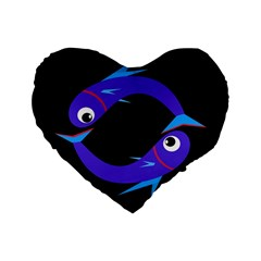 Blue Fishes Standard 16  Premium Heart Shape Cushions by Valentinaart