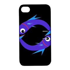 Blue Fishes Apple Iphone 4/4s Hardshell Case With Stand by Valentinaart