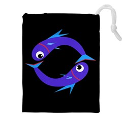 Blue Fishes Drawstring Pouches (xxl) by Valentinaart