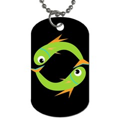 Green Fishes Dog Tag (two Sides) by Valentinaart