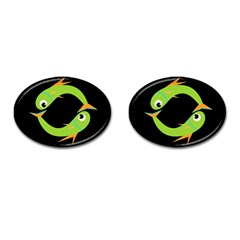 Green Fishes Cufflinks (oval) by Valentinaart