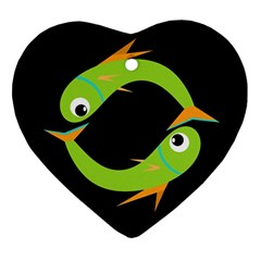 Green Fishes Heart Ornament (2 Sides) by Valentinaart