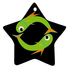 Green Fishes Star Ornament (two Sides)  by Valentinaart