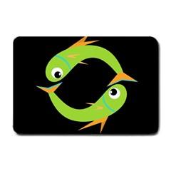 Green Fishes Small Doormat  by Valentinaart