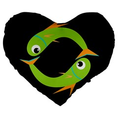 Green Fishes Large 19  Premium Heart Shape Cushions by Valentinaart