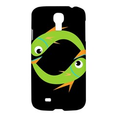 Green Fishes Samsung Galaxy S4 I9500/i9505 Hardshell Case by Valentinaart