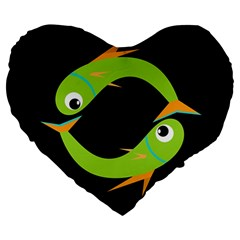 Green Fishes Large 19  Premium Flano Heart Shape Cushions by Valentinaart