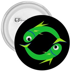 Green Fishes 3  Buttons by Valentinaart