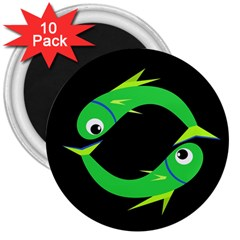 Green Fishes 3  Magnets (10 Pack)  by Valentinaart