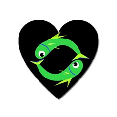 Green Fishes Heart Magnet by Valentinaart