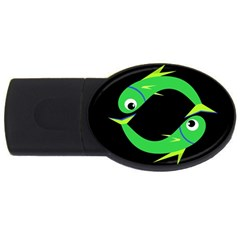 Green Fishes Usb Flash Drive Oval (4 Gb)  by Valentinaart
