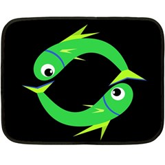 Green Fishes Double Sided Fleece Blanket (mini)  by Valentinaart