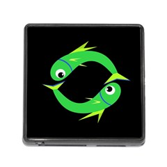 Green Fishes Memory Card Reader (square) by Valentinaart