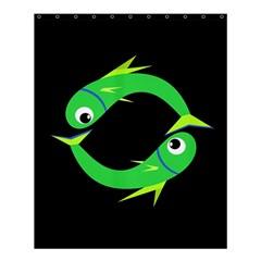 Green Fishes Shower Curtain 60  X 72  (medium)  by Valentinaart