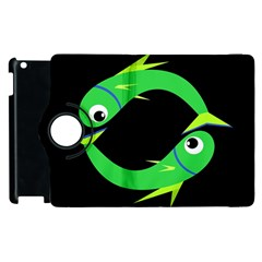 Green Fishes Apple Ipad 2 Flip 360 Case by Valentinaart